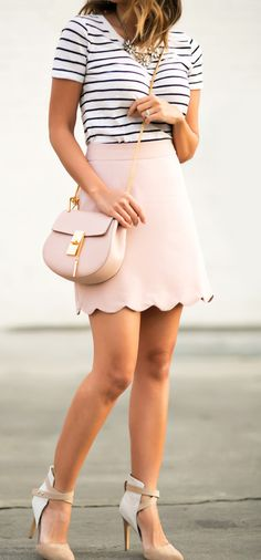 Pink scalloped edge skirt + striped top
