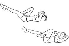 Bicycles / elbow-to-knee crunches / cross-body crunches is a gym work out exercise that targets abs and obliques and also involves glutes & hip flexors and quadriceps. Post Baby Workout, Easy Ab Workout, 6 Pack Abs Workout, Post Pregnancy Workout, Ab Workout Men, Workout For Flat Stomach, Workout Guide, Easy Workouts, Tummy Workout