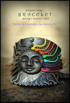 Cuff clay bracelet  sun tribal psy trance hippie by SweetlyART, $53.00