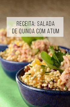 Salada de quinoa com Atum - Food Recipe Veggie Recipes, Fish Recipes, Seafood Recipes, Healthy Recipes, Vegetarian Recipes, Quinoa Salat, Quinoa Bowl, Quinoa Muffins, Quinoa Chili