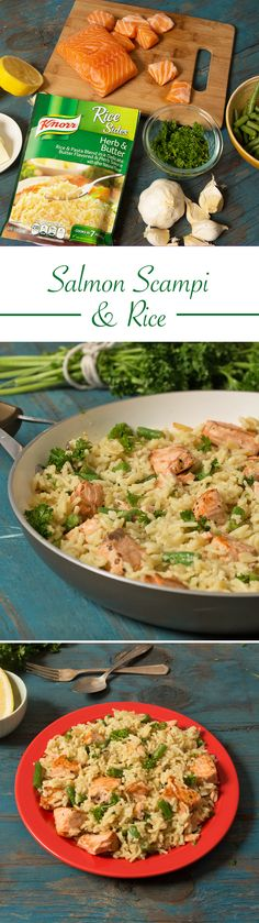 Kick dinner up a notch this week w/ Salmon Scamp & Rice! Season salmon w/ salt & pepper. Melt 1 tbsp Spread in skillet over medium-high heat & cook salmon, turning occasionally, until salmon flakes w/ a fork. Remove & set aside. Melt remaining 1 tbsp Spread in same skillet over medium-high heat & cook green beans & garlic, stirring occasionally, until fragrant. Prepare Knorr® Rice Sides™ Herb & Butter in same skillet w/ package directions. Stir in parsley, lemon juice & salmon.