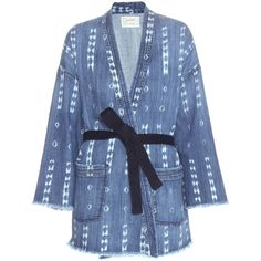 Current/Elliott The Kimono Printed Denim Jacket ($531) ❤ liked on Polyvore featuring outerwear, jackets, blue, denim jacket, blue denim jacket, current/elliott, blue jean jacket and jean jacket