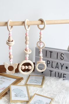Light pink wooden play gym toys / Set of 3 toys / Safe for