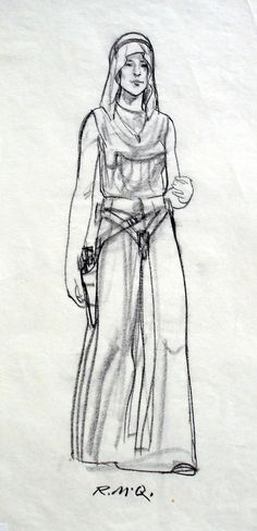 Princess Leia Concept: Ralph McQuarrie  Early concept of Princess Leia done in 1975. This version has Leia carrying a blaster & holster on her hip.