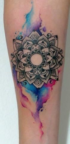 Cool Watercolor Mandala Temporary Tattoos at MyBodiArt