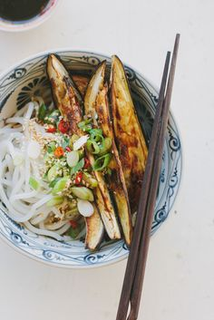 Roasted eggplant + noodles with Chinese black vinegar dressing (gluten-free…