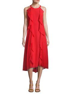 Donna Ricco Gathered Trim High Low Dress