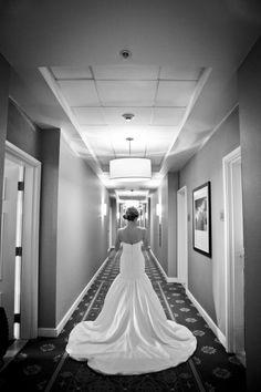 Gorgeous shot of bride from behind in Angel Rivera Maya Wedding dress