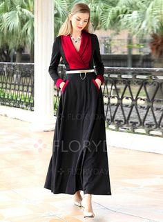 Vestidos - $92.19 - Poliéster Bloques de colores Manga larga Hasta los tobillos…
