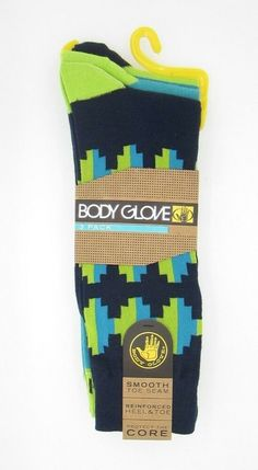 dfc8416d Body Glove Men's Fashion Crew Socks Blue/ Green Puzzle & Stripes 3  Pairs #