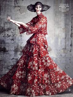 Nadja Auermann wears @valentino by Luigi & Iango for Vanity Fair France, June 2015.