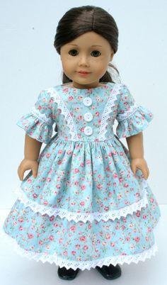 Lovely floral 1850's dress- AG doll