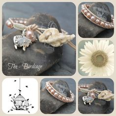 Peach Freshwater Pearl Single Wrap with Ceramic Shell Button www.facebook.com/the-birdcage