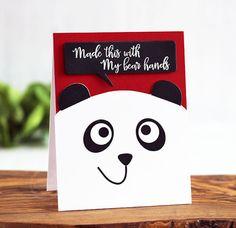 Bear Hands card by Laurie Schmidlin for Paper Smooches - Bear Frog Card Dies, Speech Bubble Dies, Critter Card Puns