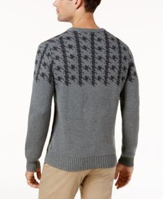 Ben Sherman Men's Dogtooth Jacquard Sweater - Gray XXL