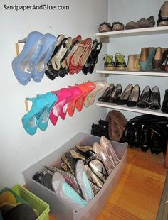 DIY built in shoe organization, closet, organizing, shelving ideas But it is important to remember t Linen Closet Organization, Shoe Organizer, Storage Organization, Storage Ideas, Shoe Storage, Storage Shelves, Shelving Ideas, Cheap Closet, Organizing Your Home