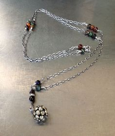Oxidized Sterling Silver Faceted Rainbow Agate by mLindvall, $170.00