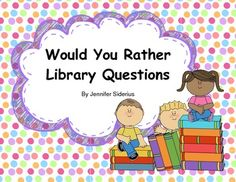 Do your students love the Would You Rather game? Mine do! They love being presented with two choices and deciding which alternative is the best for them. Capitalize on their love for this game by using library-themed questions! Keep the game relevant for School Library Lessons, Library Lesson Plans, Middle School Libraries, Elementary School Library, Library Skills, Elementary Schools, Library Games, Library Activities, Library Books