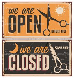 Photo about Retro door signs for barber shop. Vintage metal sign set with scissors. Creative vector sign design on old and rusty background. Illustration of barbershop, design, business - 37121380 Barber Shop Vintage, Barber Shop Decor, Barber Logo, Barbershop Design, Barbershop Ideas, Vintage Metal Signs, Salon Design, Door Signs, Beauty Shop