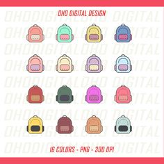 Colors School Bags Clip art, illustrations PNG, Planner Stickers Commercial Use by OHODIGITAL on Etsy