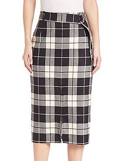 Max Mara Plaid Virgin Wool-Blend Skirt - I am infatuated with plaid for fall 2016!