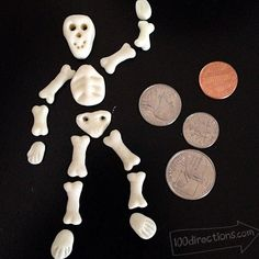 Glow in the Dark skeleton by Jen Goode made with Makin's Clay air-dry polymer clay - website has near craft ideas