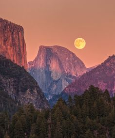 Full Moon over Half Dome, Yosemite #keen #recess #hiking #moon