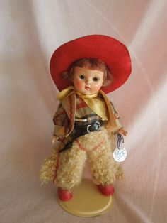 1952 Vogue Ginny Cowboy. Strung Painted Lash Doll