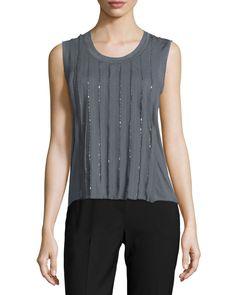 Jemima Sleeveless Embellished Blouse, Women's, Size: XL, Sharkfin - Elie Tahari