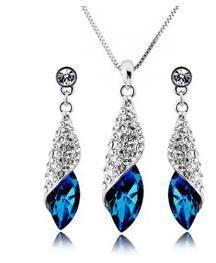 Rhinestone Sea Crystal Earrings Necklace Set