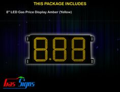 8 Inch 8.88 LED Gas Price Display Yellow with housing dimension H290mm x W492mm x D55mmand format 8.88 comes with complete set of Control Box, Power Cable, Signal Cable & 2 RF Remote Controls (Free remote controls).