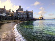 Bain's Beach in Lerwick - the colour of that sea!