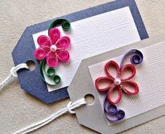 handmade paper quilled all occasion gift tags by sayitwithblooms Handmade Gift Tags, Handmade Crafts, Diy And Crafts, Arts And Crafts, Paper Crafts, Quilling Craft, Quilling Patterns, Paper Quilling, Christmas Gift Tags