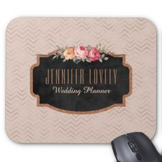 Chic Rose Gold Chevrons Chalkboard  | Monogram Mouse Pad - glitter gifts personalize gift ideas unique