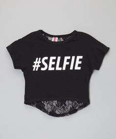 Black 'Selfie' Lace-Back Crop Top - Toddler & Girls by American Kids #zulily #zulilyfinds