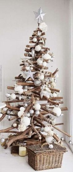 Modern Christmas Tree Alternatives This beautiful driftwood Christmas tree with white decorations has to be one of our absolute favourites. We've got serious tree envy!Decoration Decoration may refer to: Driftwood Christmas Tree, Beach Christmas, Coastal Christmas, Modern Christmas, Christmas Holidays, Christmas Crafts, Christmas Ornaments, Christmas Mantles, Christmas Trends
