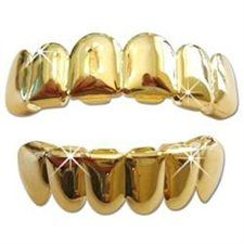 Hip Hop Gold Plated Grillz 2pc Set (Upper & Lower) with Storage Case