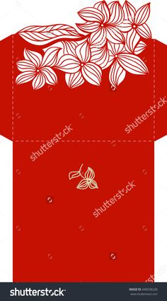 Layout Invitation Card With Floral Pattern In Red Color For Weddings And Other Celebrations. Suitable For Laser Cutting. Open Envelope. Стоковая векторная иллюстрация 448558228 : Shutterstock