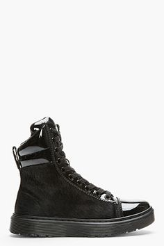 Dr. Marten Black Calf-hair Patent-trimmed Fade Sneakers for Woman