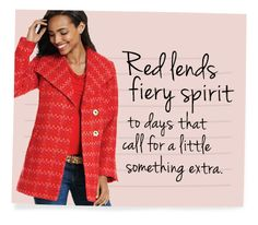 #redcoat #cabicutest  Discover all the style tips from CAbi including video and style guides. View the Fall Collection.