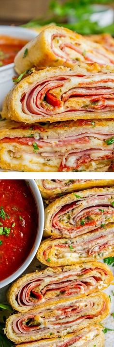 Stromboli is basically pizza that's been rolled up like a cinnamon roll. The classic ingredients include mozzarella, ham, and salami. I threw in some pepperoni and pepper jack cheese just for fun. It'