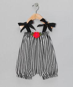 Look at this #zulilyfind! Victoria Kids Black & White Stripe Flower Bubble Romper - Infant & Toddler by Victoria Kids #zulilyfinds