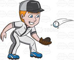 A baseball player happily catches a ball #cartoon #clipart #vector #vectortoons #stockimage #stockart #art