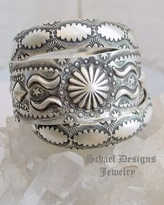 Vince Platero artist signed sterling silver hand stamped Bangle Cuff Bracelets | Schaef Designs Jewelry | New Mexico