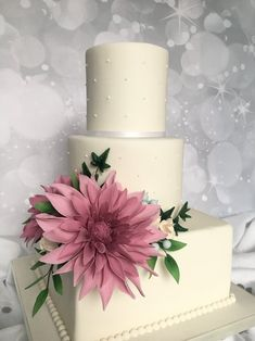 3 tier wedding cake with delicate pearl design and a show stopping sugar dahlia display Wedding Cake Base, 3 Tier Wedding Cakes, Wedding Cake Prices, Wedding Cake Decorations, Wedding Cake Designs, Flower Decorations, Pink And Gold Wedding, Gold Wedding Theme, Cake Pricing