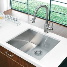 "23"" x 20"" Undermount Single Bowl Kitchen Sink and Faucet in Satin"