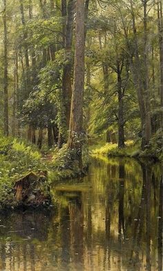 Peter Mork Monsted (10 December 1859 — 20 June 1941) Forest interior with river Oil on canvas - 1910
