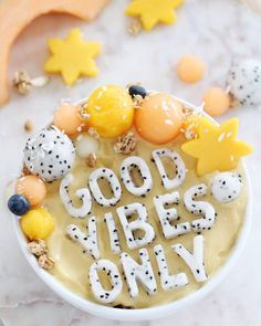 Fondant cutters are all need to cut your own fruit letters for smoothies! | Eh Vegan