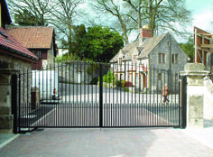 RSG3400 Hinged Security Gates fitted to the entrance of a small village in Waltham Forest