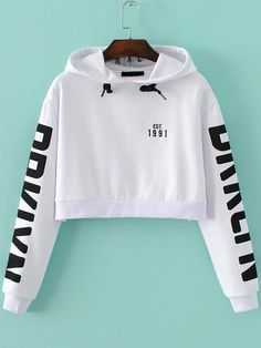 Shop White Letter Print Hooded Crop Sweatshirt online. SheIn offers White Letter Print Hooded Crop Sweatshirt & more to fit your fashionable needs.